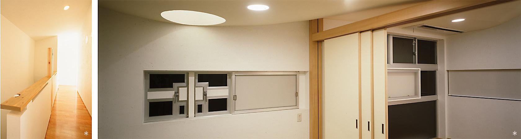 杉並S邸4-2階階段前廊下 和室とリビング