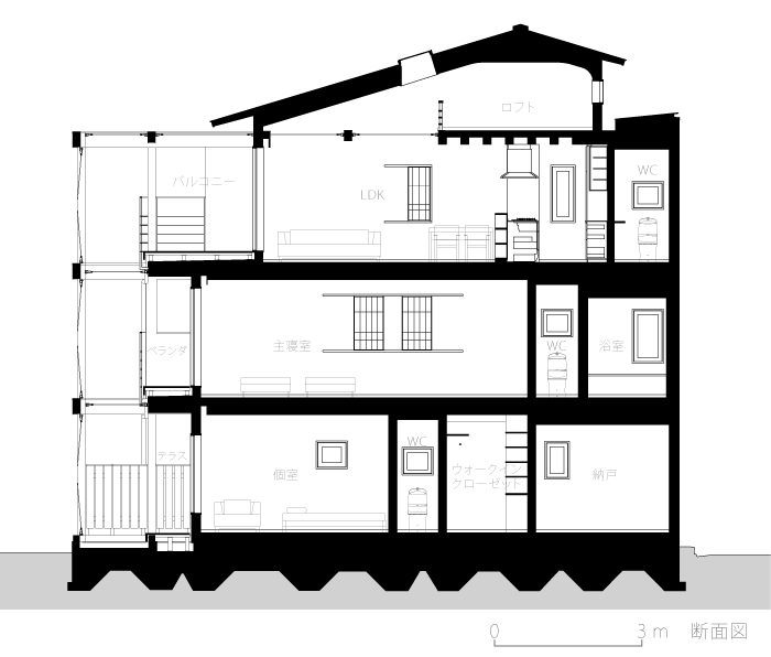 経堂の家3-断面図