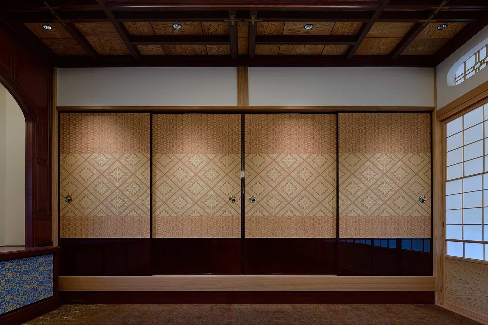 A邸17-人間国宝の北村武資先生の織物を使用した襖
