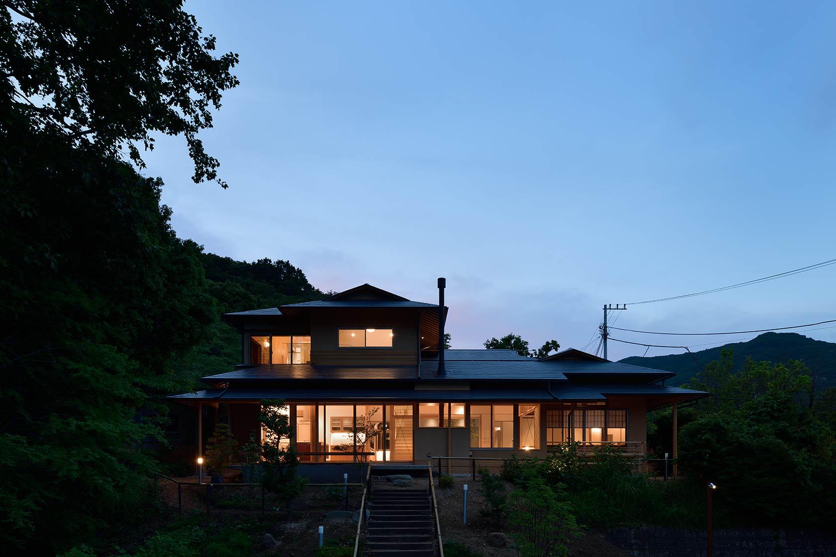 神奈川K邸28-南面外観 夜景