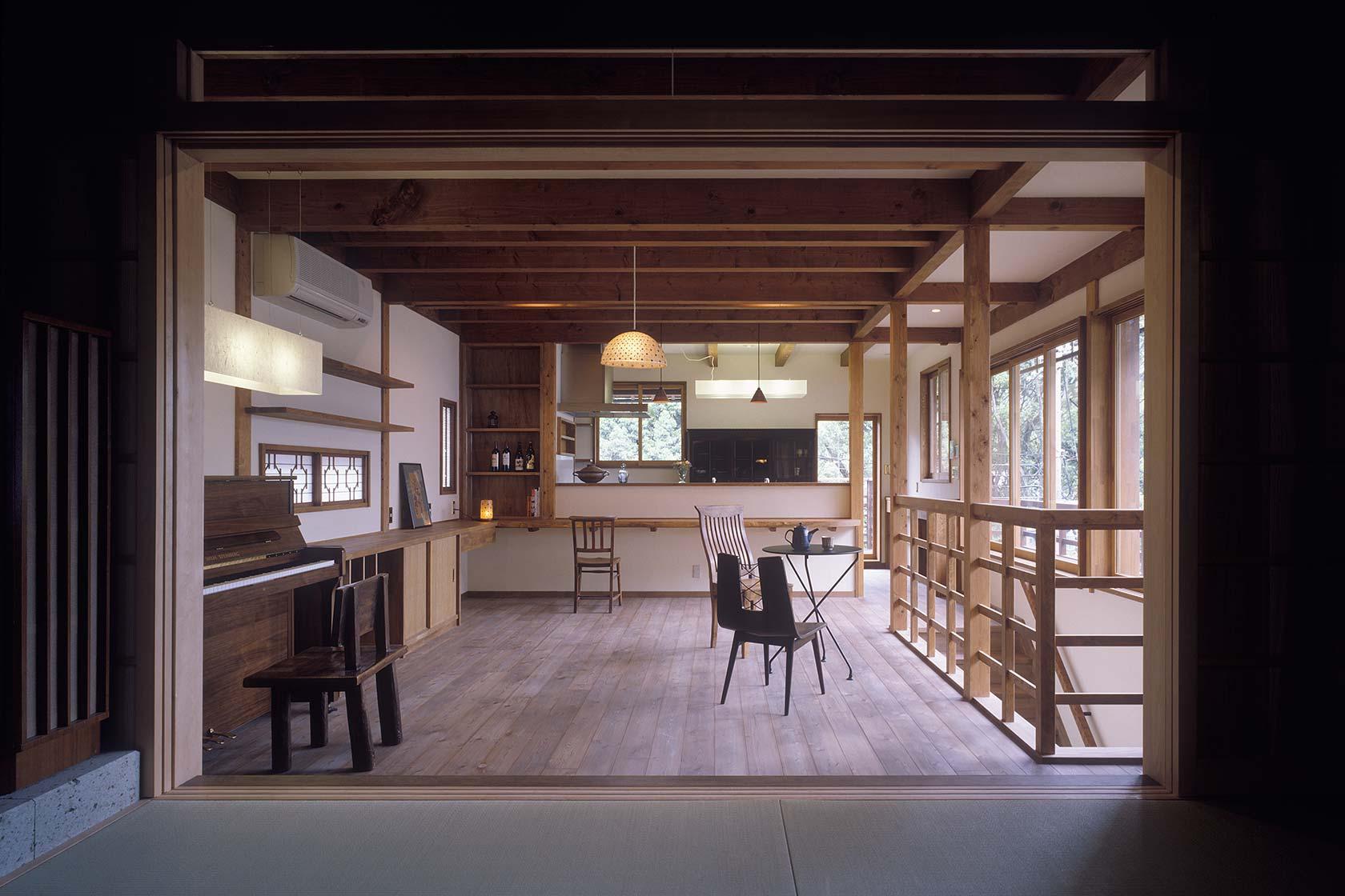 京都U邸11-居間からダイニング